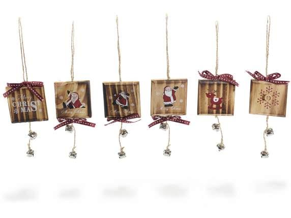 Decorazioni natalizie a quadretto in legno da appendere for Decorazioni natalizie in legno da appendere