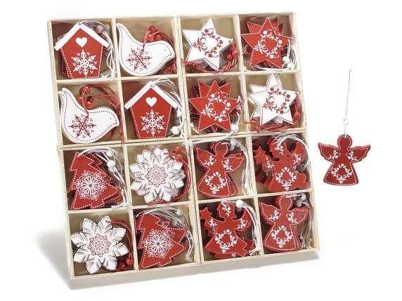 Espositore 64 decorazioni legno bianco rosso da appendere for Decorazioni natalizie in legno da appendere