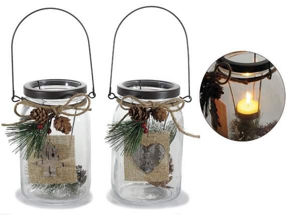 Barattolo porta candela natalizio in vetro trasparente con - Porta tea light ...