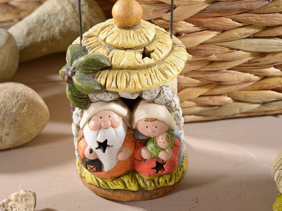 Lantern shaped nativity scene w-light