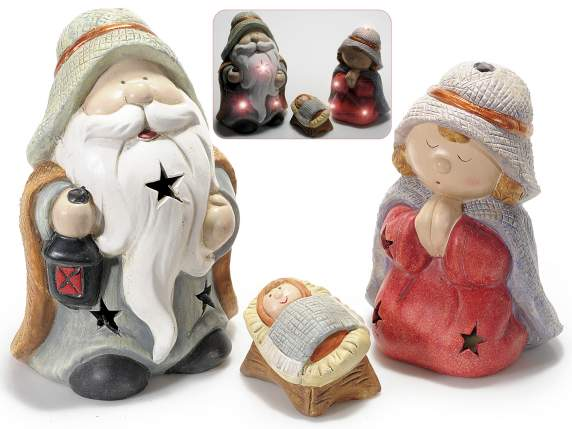 Set 3 nativity scene subjects with led light in ceramic