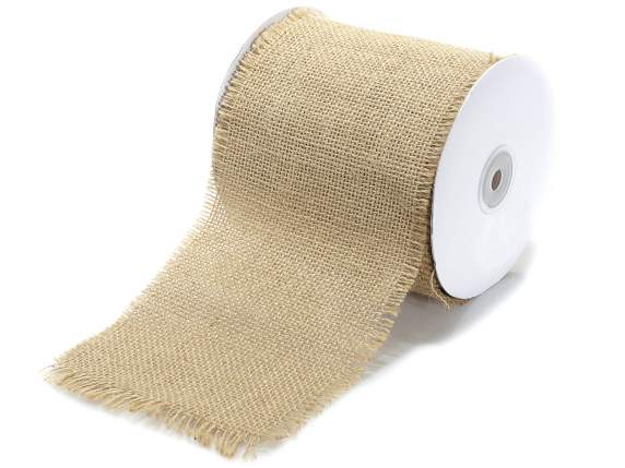 Natural burlap ribbon 125mm x 10mt