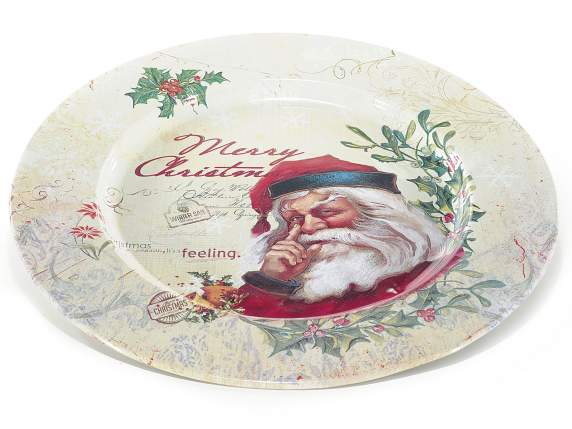 Assiette decoratif en metal Merry Christmas