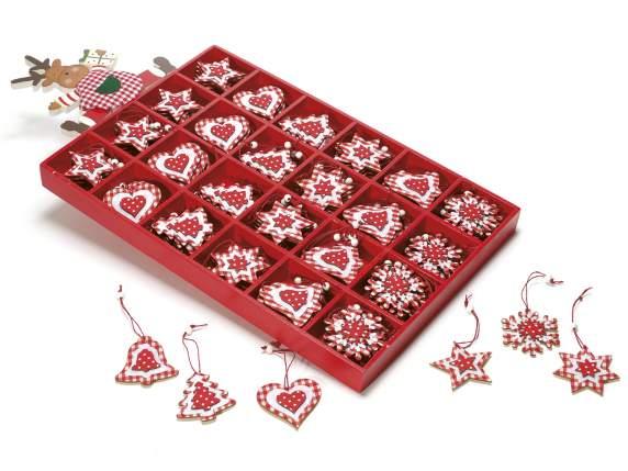 Decorazioni natalizie in legno a quadretti bianco rossi da for Decorazioni natalizie in legno da appendere