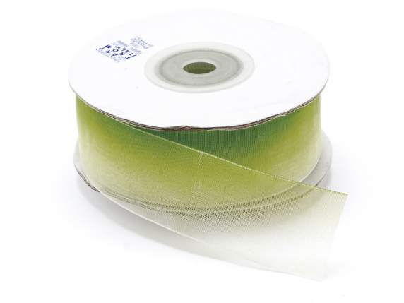 Organdie bicolor ribbon 25mmx25mt green