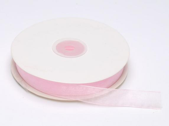 Organdie ribbon Poly mm 15x50 mt baby light pink