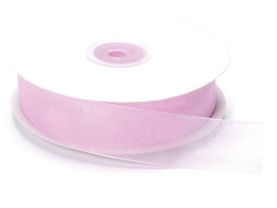 Organdie ribbon Poly mm 25x50 mt baby light pink
