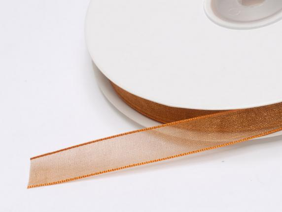 Organdie ribbon Poly mm 10x50 mt bronze