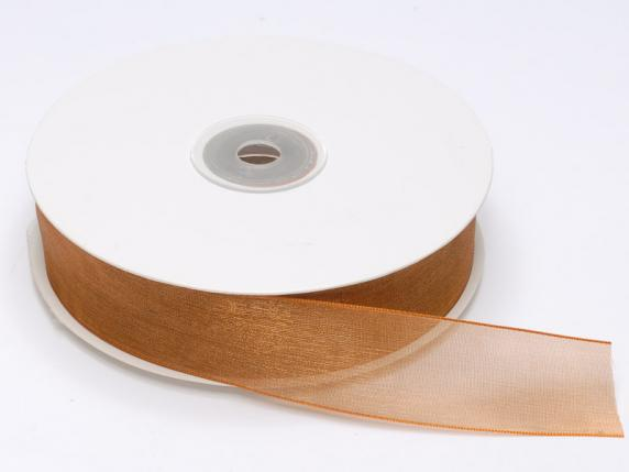 Organdie ribbon Poly mm 25x50 mt bronze