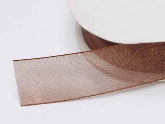 Organdie ribbon Poly mm 25x50 mt chocolate brown