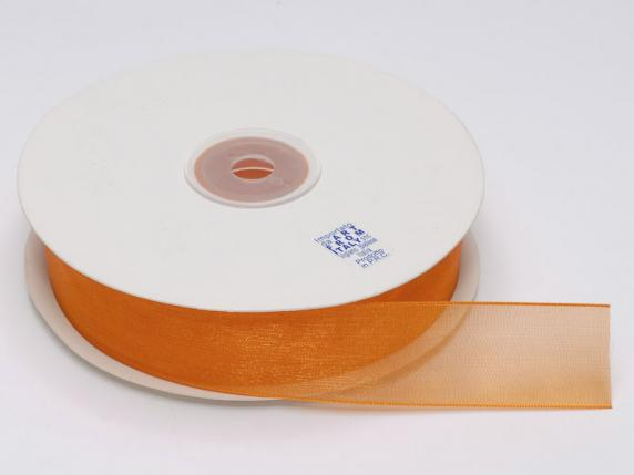 Organdie ribbon Poly mm 25x50 mt orange flame