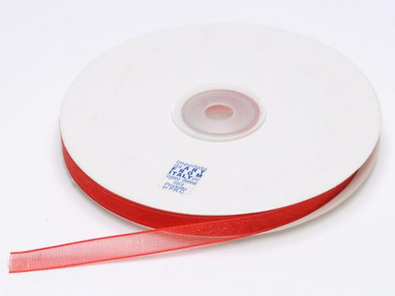 Organdie ribbon Poly mm 7x50 mt red strawberry