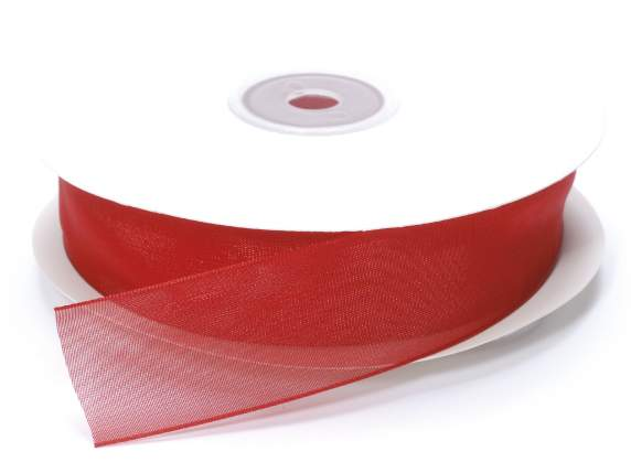Organdie ribbon Poly mm 25x50 mt red strawberry