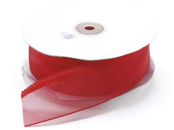 Organdie ribbon with string 38mmx50mt red
