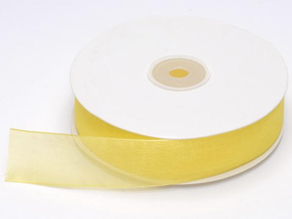 Organdie ribbon Poly mm 25x50 mt yellow lemon