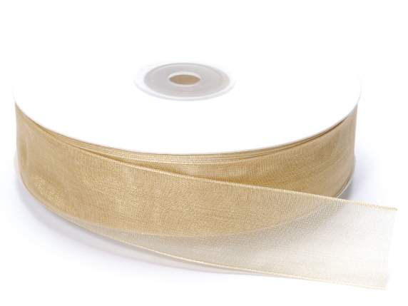 Organza Band -quot;Poly-quot; mm 25x50 mt Champagn
