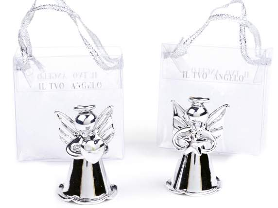 Silver glass angel in pvc bag in expositor