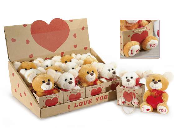 Orsetto 'I love You' in peluche c/cuore in borsetta in espo