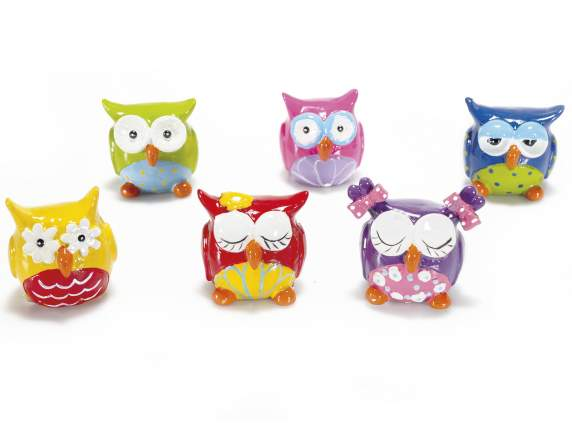 Owl lucky charms in coloured resin