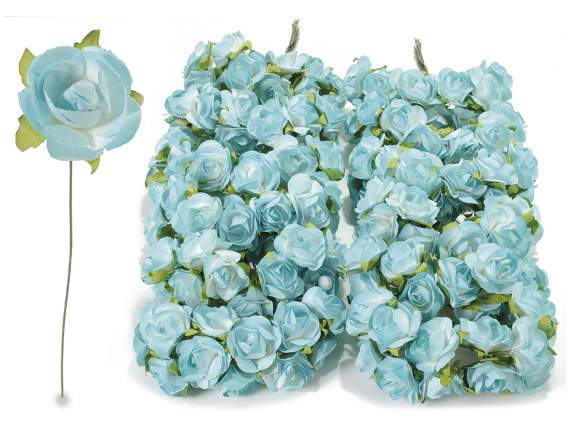 Paper artificial blue rose with stem