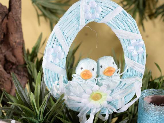 Hanger paper easter wreath with chicks.