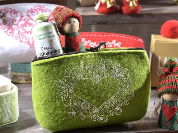 Felt pencil case with zip and heart decoration