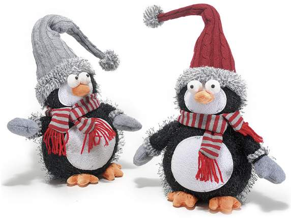 Leaning penguin with scarf and hat