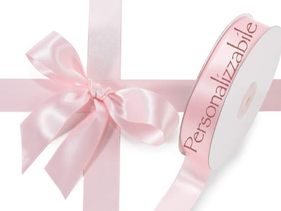 Satin Doppelband 25 mm rosa personalisierte