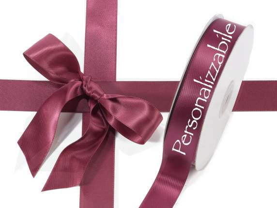 Satin Doppelband mm 25 bordeaux personalisiert