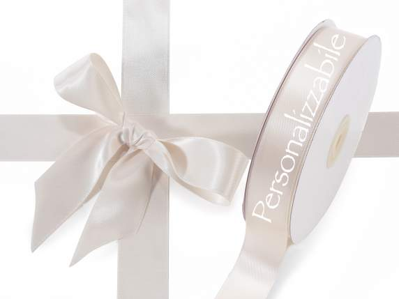 Satin double ribbon mm 25 antique white personalized