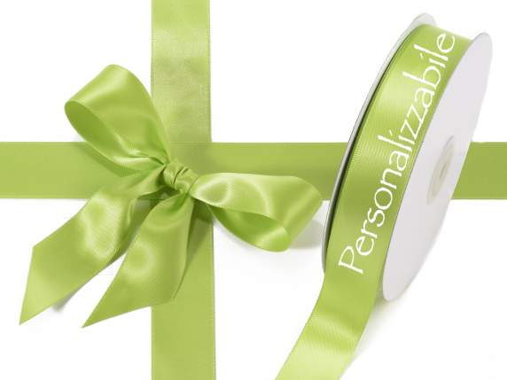 Satin double ribbon mm 25 apple green personalized