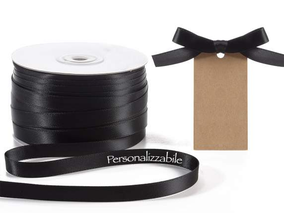 Satin double ribbon mm 10 black personalized