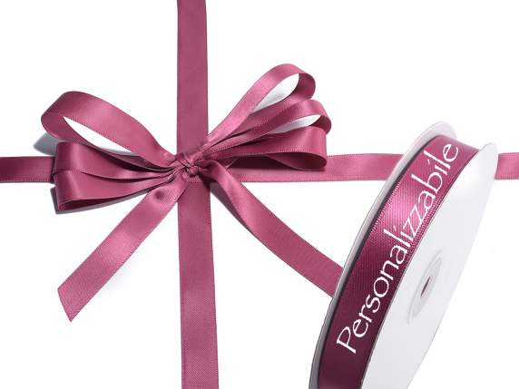 Satin double ribbon mm 15 bordeaux personalized