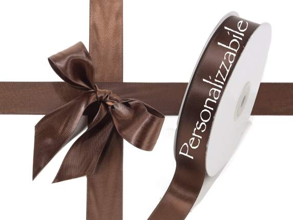 Satin double ribbon mm 25 chocolate brown personalized