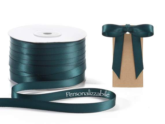 Satin ribbon mm 10 emerald green personalized