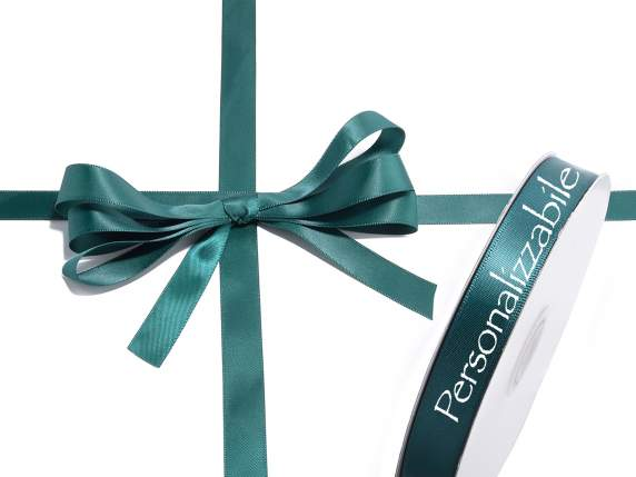 Satin double ribbon mm 15 emerald green personalized