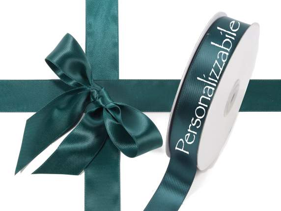 Satin double ribbon mm 25 emerald green personalized