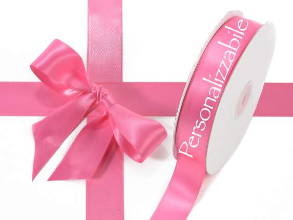 Satin double ribbon mm 255 fucsia personalized