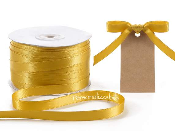 Satin double ribbon mm 10 gold personalized