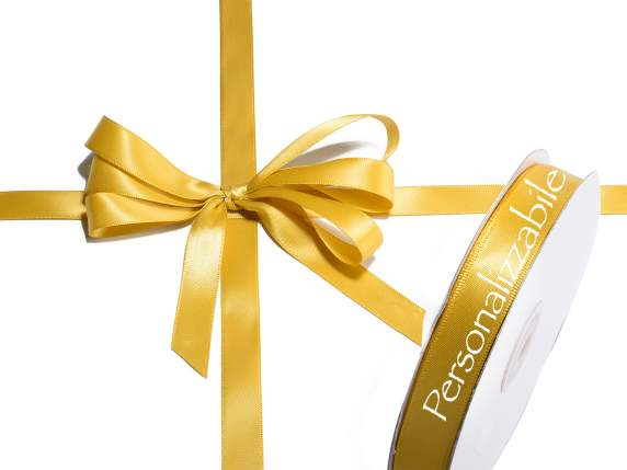 Satin double ribbon mm 15 gold personalized