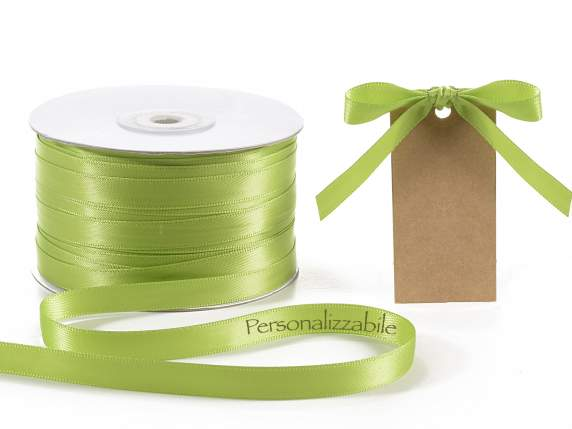 Satin double ribbon mm 10 apple green personalized
