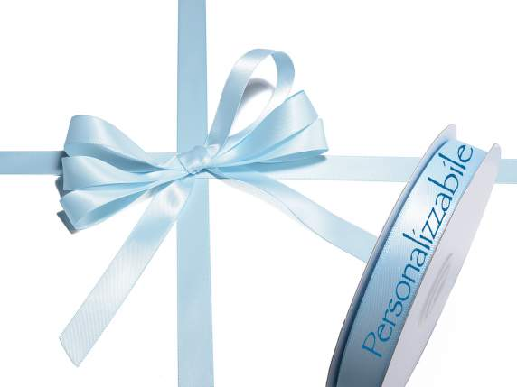 Satin double ribbon mm 15 light blue baby personalized