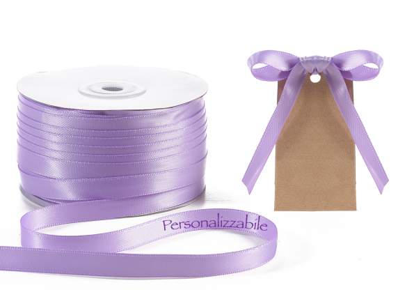 Satin double ribbon mm 10 lilac wisteria personalized