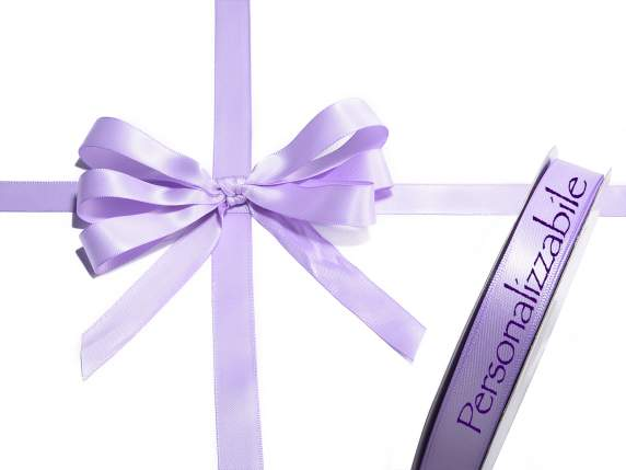 Satin double ribbon mm 15 lilac wisteria personalized