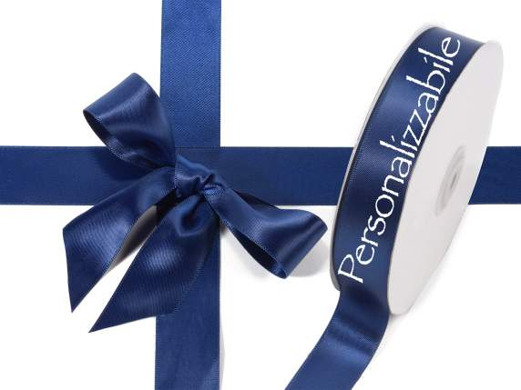 Satin double ribbon mm 25 night blue personalized