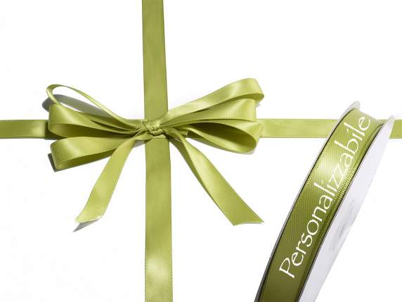 Satin double ribbon mm 15 olive green personalized