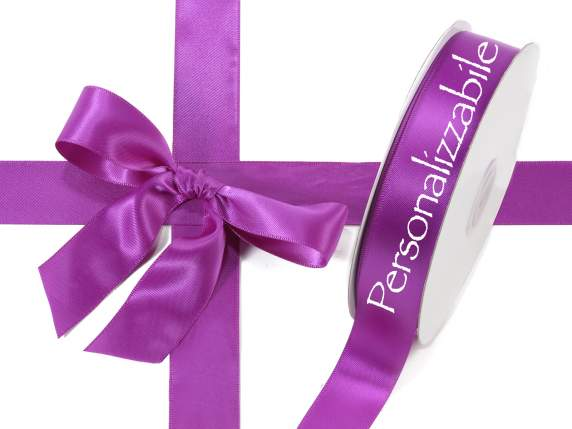 Satin double ribbon mm 25 orchid purple personalized