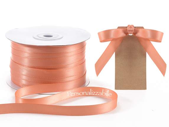 Satin double ribbon mm 10 salmon personalized