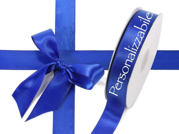 Satin double ribbon mm 25 royal blue personalized