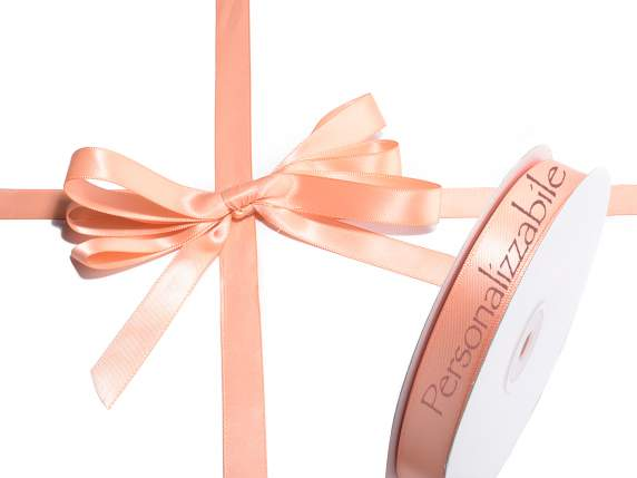 Satin double ribbon mm 15 salmon colour personalized